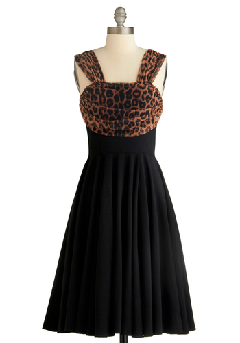Drive Me Wild Dress - Black, Brown, Animal Print, Party, Vintage Inspired, 60s, A-line, Sleeveless, Tank top (2 thick straps), Fall, Long, Formal, Prom