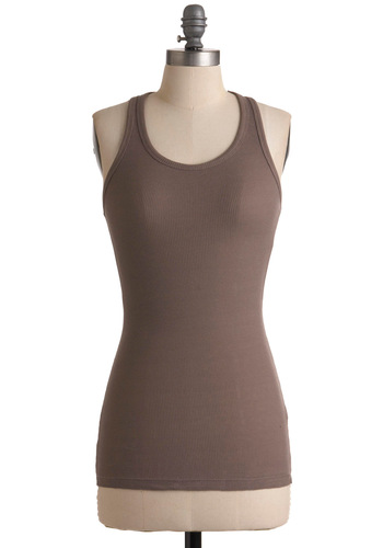 Be a Good Sport Tank in Cocoa - Brown, Racerback, Summer, Solid, Casual, Mid-length
