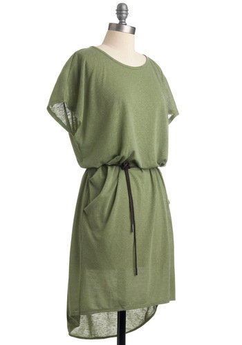 Peas and Thank You Dress - Mid-length, Green, Solid, Short Sleeves, Casual, Sack, Fall