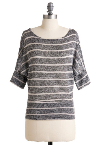 Art Admirer Top - Grey, White, Stripes, Short Sleeves, Casual, Fall, Mid-length, Scholastic/Collegiate, Best Seller, Boat, Travel, Knit, Grey, Short Sleeve, Top Rated