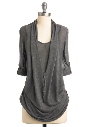 What's in Storm Top - Grey, Solid, Buttons, Casual, Long Sleeve, Fall, Scholastic/Collegiate, Long, V Neck