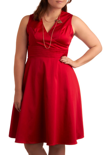 Beguiling Beauty Dress in Red - Plus Size - Red, Solid, A-line, Sleeveless, Special Occasion, Wedding, Party, Wrap, Long