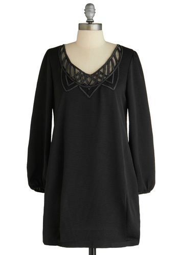 Sample 1274 - Black, Solid, Cutout, Sheath / Shift, 3/4 Sleeve