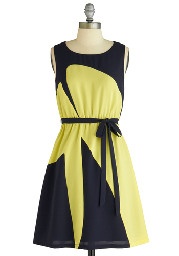 Sample 1273 - Yellow, Black, Print, A-line, Sleeveless