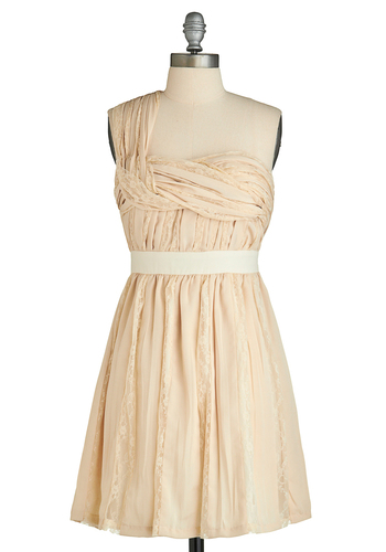 Sugar Cookie Platter Dress - Cream, Solid, Wedding, Party, A-line, Empire, One Shoulder, Mid-length, Lace, Pleats, Prom, Pastel, Ruching