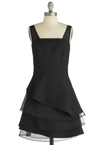 Twirl Power Dress - Mid-length, Black, Solid, Tiered, Special Occasion, Party, A-line, Tank top (2 thick straps), Summer, Prom, Wedding