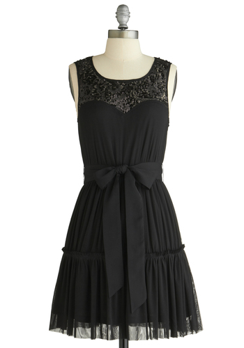 Coal, Calm, and Collected Dress - Black, Solid, Ruffles, Sequins, Ballerina / Tutu, Sheath / Shift, Sleeveless, Formal, Wedding, Party, Short