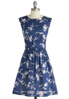 Too Much Fun Dress in Florets by Emily and Fin - Mid-length, White, Floral, A-line, Sleeveless, Blue, Party, Vintage Inspired, Spring, International Designer