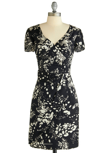 Variety Store Dress in Abstract by Emily and Fin - Floral, Sheath / Shift, Short Sleeves, Party, Work, Vintage Inspired, 50s, Mid-length, Black, White, International Designer