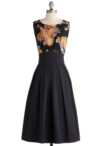 The Polite Pairing Dress in Fruit by Emily and Fin - Long, Black, Orange, Yellow, A-line, Twofer, Sleeveless, Print, Party, Vintage Inspired, 40s, 50s, Fruits, International Designer
