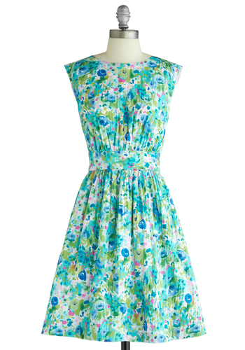 Too Much Fun Dress in Blossoms by Emily and Fin - Multi, Green, Blue, Pink, White, Floral, Party, Vintage Inspired, Sleeveless, Spring, International Designer, Mid-length, Fit & Flare, Exclusives