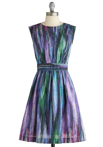 Too Much Fun Dress in Waterfall by Emily and Fin - Mid-length, Print, A-line, Sleeveless, Multi, Green, Blue, Purple, Pink, Party, Summer, International Designer