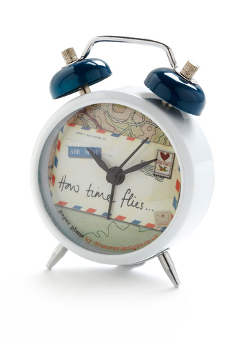 About Time to Travel Mini Clock by Disaster Designs - Red, Blue, Multi, White