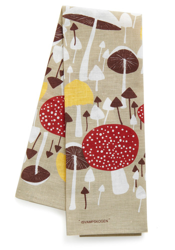 Mushroom for One More Tea Towel - Red, Yellow, Brown, White, Multi, Tan / Cream, Dorm Decor, Mushrooms