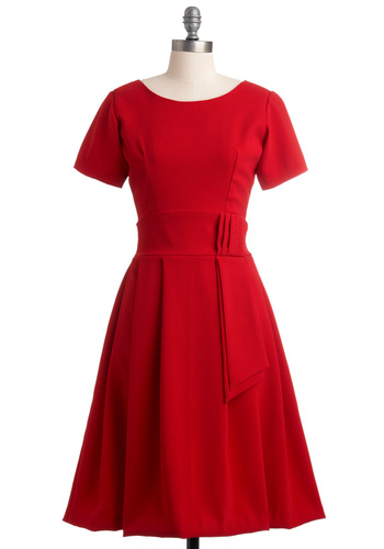 How Could You Nantes? Dress - Long, Red, Solid, Pleats, A-line, Short Sleeves, Wedding, Party, Vintage Inspired