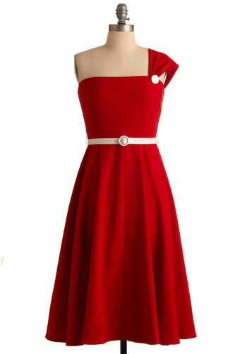 Ravishing in Red Dress - Red, White, Solid, A-line, One Shoulder, Party, Vintage Inspired, 50s, 60s, Spring, Summer, Fall, Long