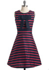 My Favorite Mod Dress by Trollied Dolly - Blue, Stripes, Bows, A-line, Sleeveless, Pink, Casual, Fall, Mid-length, Print, International Designer