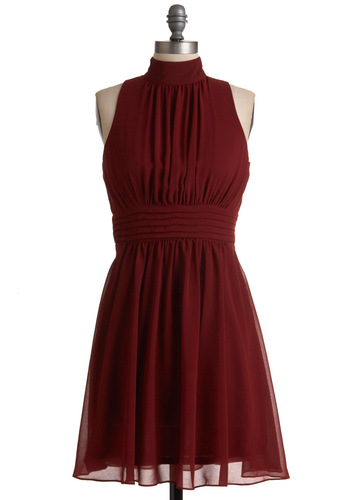 Windy City Dress in Burgundy - Mid-length, Red, Solid, Pleats, A-line, Ballerina / Tutu, Sleeveless, Party, Halter