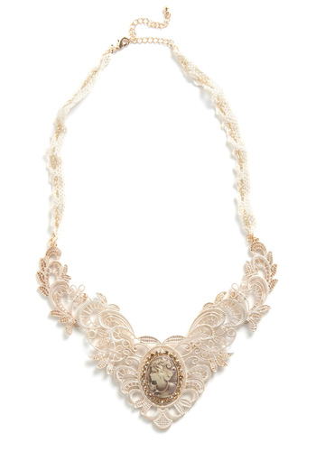 Midnight in London Necklace - White, Gold, Party