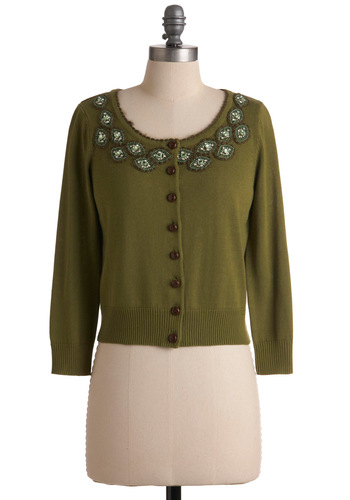 Meet Me at Midnight Cardigan by Knitted Dove - Short, Green, Solid, Beads, Buttons, 3/4 Sleeve, Party, Fall