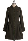 Always on Duty Coat by Knitted Dove - Long, Green, Solid, Buttons, Pockets, Trim, Long Sleeve, Casual, Military, Fall, 2