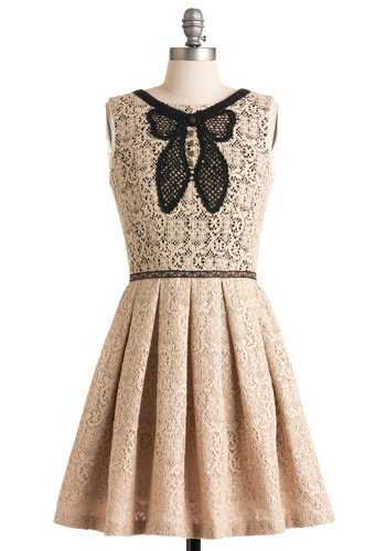 In Love with Life Dress by Corey Lynn Calter - Mid-length, Cream, Black, Solid, Lace, A-line, Sleeveless, Floral, Buttons, Trim, Party, Vintage Inspired, Spring