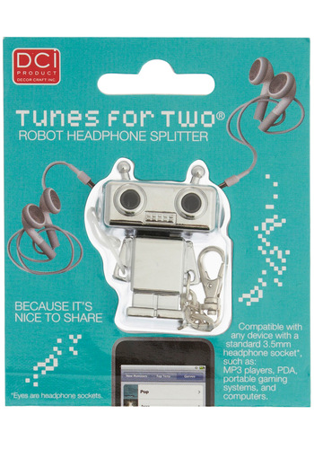 'Roboth' Listening Headphone Splitter by Decor Craft Inc. - Silver, Travel