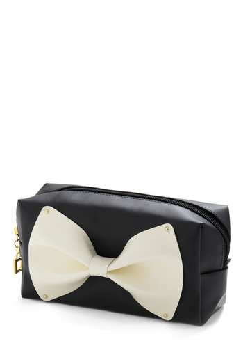 Bow-tiful Belongings Pouch - Black, White, Bows, Travel