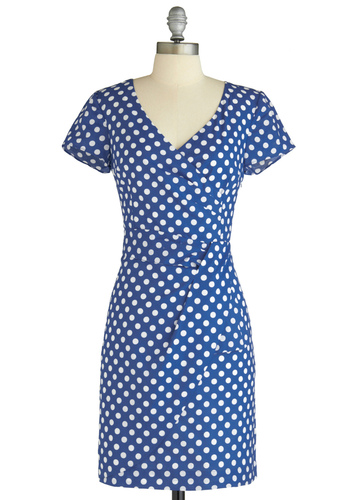 Variety Store Dress in Dotted by Emily and Fin - Blue, White, Polka Dots, Sheath / Shift, Short Sleeves, Party, Work, Vintage Inspired, Spring, Mid-length, Print, International Designer