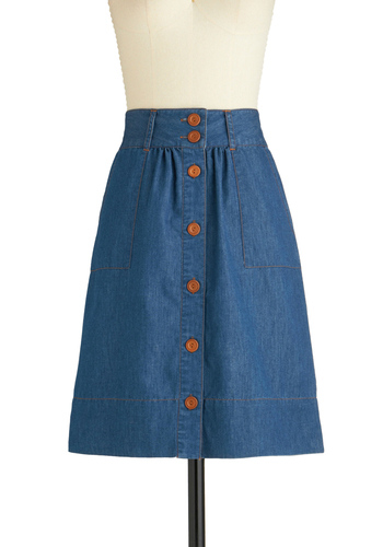 Know What I Jean Skirt by Tulle Clothing - Blue, Solid, Buttons, Pockets, Mid-length, Casual, 70s, A-line, Denim
