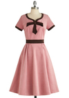 Dessert Darling Dress by Pinup Couture - Pink, Brown, Solid, A-line, Short Sleeves, Long, Bows, Party, 50s