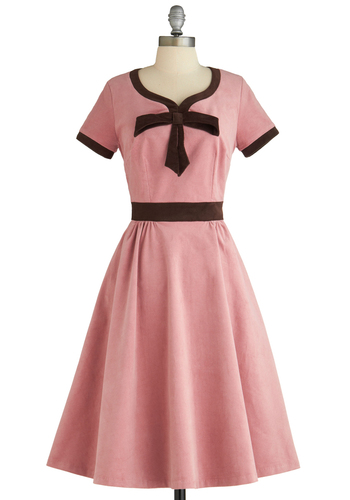 Dessert Darling Dress - Pink, Brown, Solid, A-line, Short Sleeves, Long, Bows, Party, 50s