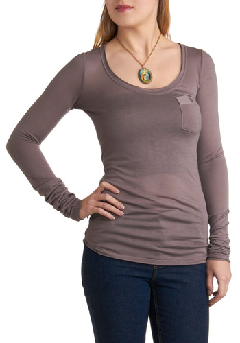 Sofa, So Good Top - Solid, Pockets, Long Sleeve, Casual, Grey, Mid-length