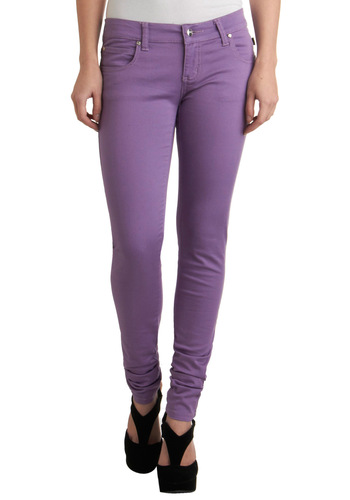 Lavender Splendor Jeans - Long, Purple, Solid, Pockets, Casual, Denim
