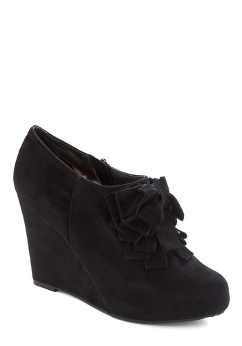 Be Frill My Heart Wedge in Onyx - Black, Solid, Ruffles, Bows, Party, Wedge