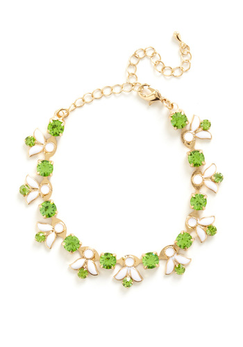 A Certain Sparkle Bracelet - Green, Gold, Formal, Prom, Rhinestones