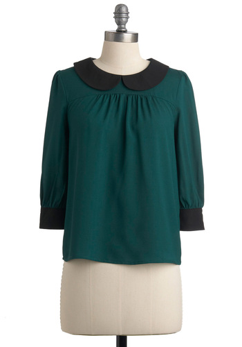 Seen and Evergreen Top - Mid-length, Green, Black, Solid, Buttons, Peter Pan Collar, 3/4 Sleeve, Work, Vintage Inspired, 60s