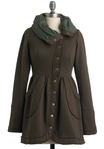 The Moral of the Understory Coat by Knitted Dove - Long, Brown, Green, Solid, Buttons, Pockets, A-line, Long Sleeve, Casual, Fall, 2.5