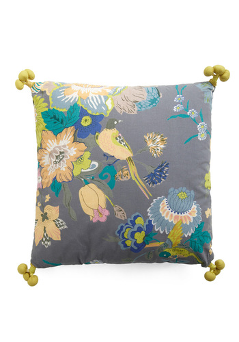 Fowl Play Pillow by Karma Living - Yellow, Green, Blue, Floral, Multi, Grey, Tassels, Dorm Decor, Handmade & DIY