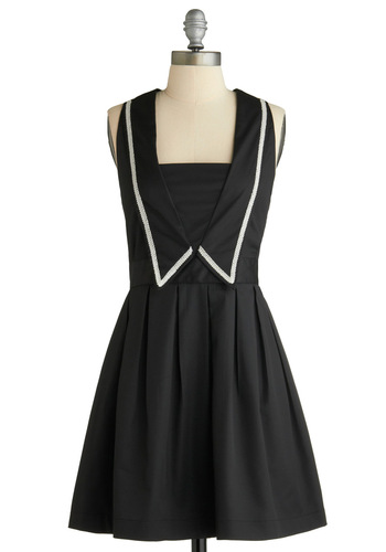 The Bells of London, Ohio Dress by Dear Creatures - Black, Solid, Trim, Party, Nautical, A-line, Sleeveless, Spring, Short
