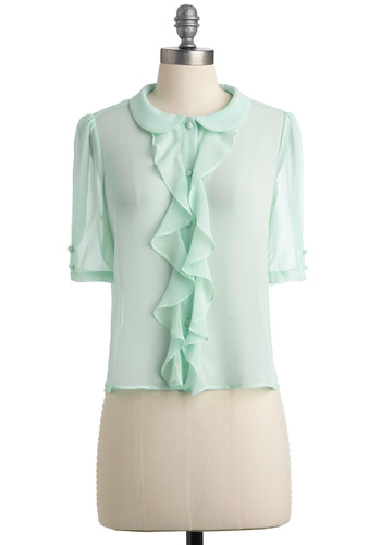 Light of Dawn Top in Morning Mint - Blue, Solid, Buttons, Ruffles, Short Sleeves, Peter Pan Collar, Work, Spring, Fall, Short
