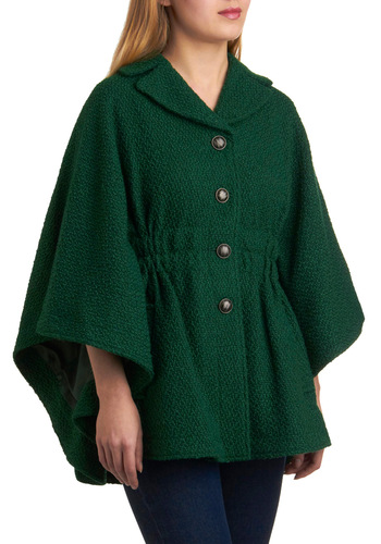 You're Golden Cape in Green by Steve Madden - Green, Solid, Buttons, Pockets, Long Sleeve, Fall, Long, 2