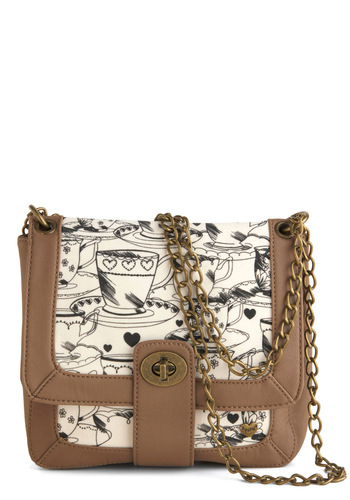 Raise the Barista Bag - Tan, White, Black, Chain, Novelty Print
