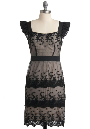 Top Tier Dress - Mid-length, Black, Lace, Sheath / Shift, Cap Sleeves, Floral, Ruffles, Tiered, Party