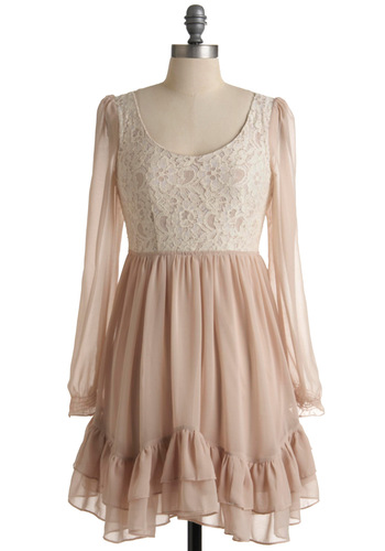 You Meringue Dress - Mid-length, Tan, Tan / Cream, Lace, Ruffles, Tiered, Party, Ballerina / Tutu, Long Sleeve, Steampunk, Pastel, Sheer, Top Rated