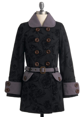 Nighttime Serenade Coat by Knitted Dove - Long, Black, Grey, Floral, Party, Long Sleeve, Winter, 2