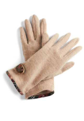 I Want Moors Gloves - Red, Brown, Buttons, Winter, Tan, Solid, Plaid, Trim