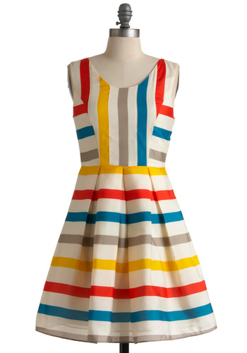 Feelin' Refreshed Dress - Mid-length, Multi, Red, Yellow, Blue, Tan / Cream, White, Stripes, Party, A-line, Sleeveless, Summer, Fit & Flare