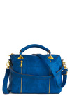 Quilt the Charmer Bag - Blue, Gold, Solid, Exposed zipper, Faux Leather