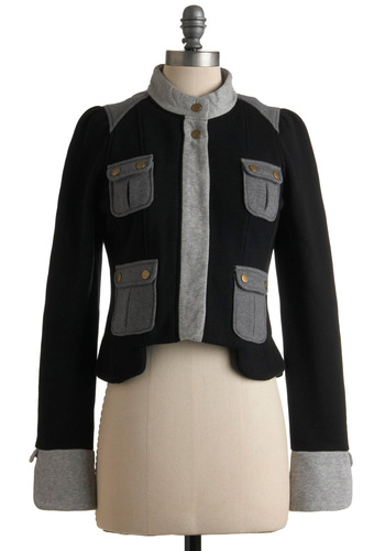 Next Adventure Jacket by Knitted Dove - Black, Grey, Buttons, Pockets, Long Sleeve, Military, Fall, 1.5, Short